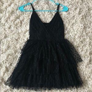 Swiss Dot Black Mini Dress